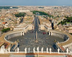 City Break Holiday, Rome, Italy, Vatican Saint Peter square aerial view