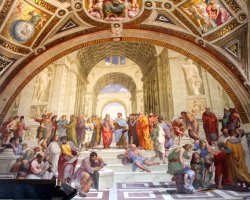 City Break Holiday, Rome, Italy, Vatican Saint Peter Basilica, Interior wall painting view