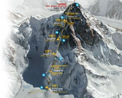 Climbing Holiday, K2, China border, Climb map