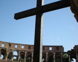 Colosseum, Rome, Italy, Cross marking the Colosseum as a sacred place