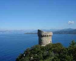 Corsica, France, Tower on the sea shore