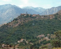 Corsica, France, Village panorama view