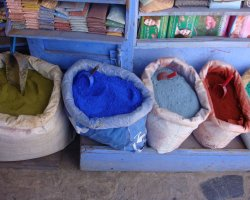 Country Holiday, Chefchaouen, Morocco, Dyes market