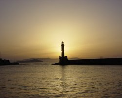 Crete, Greece, Chania lighthouse at sunset
