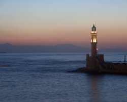 Crete, Greece, Chania lighthouse at night