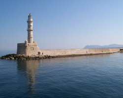 Crete, Greece, Chania lighthouse overview