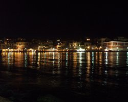 Crete, Greece, Chania Harbour at night