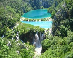 Croatian Beaches, Plitvice, Croatia, Waterfall overview