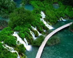 Croatian Beaches, Plitvice, Croatia, Waterfall aerial view