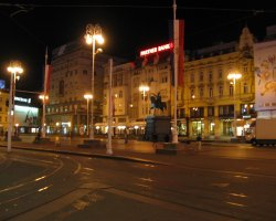 Croatia Holiday, Zagreb, Croatia, Ban Jelacic Square by night