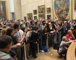 Disappointing Holiday, Mona Lisa, Paris, France, Louvre Museum crowded mob