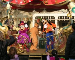 Paris, France, Disneyland Parade - Minnie and Goofy characters