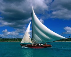 Dominican Republic, America, Fishing sailboat, Bayahibe La Romana