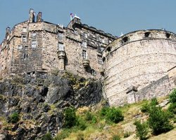 Edinburgh Castle, Scotland, United Kingdom, view from the bottom