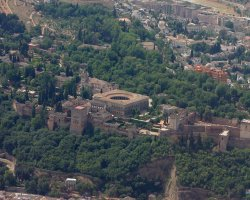 European Palaces, Alhambra Castle, Granada, Andalusia, Spain, Aerial view