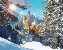 European Palaces, Neuschwanstein Castle, Bavaria, Germany, Winter time overview