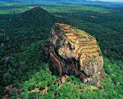 Exotic Vacations, SriLanka, Asia, Sigiriya rock aerial view