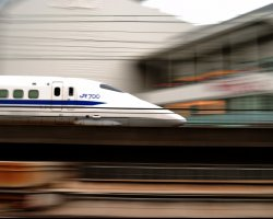 Expensive Holiday City, Tokyo, Japan, Bullet train on its way