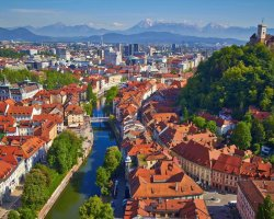 Extended Weekend Holiday, Ljubljana, Slovenia, City panorama aerial view