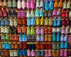 Extended Weekend Holiday, Marrakech, Morocco, Colorful shoes at market