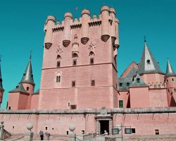 A fairytale castle, Alcazar of Segovia, Spain, view of the castle