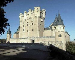 A fairytale castle, Alcazar of Segovia, Spain, side view
