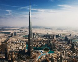 Famous Tower Holiday, Dubai, UAE, Burj Khalifa panoramic view