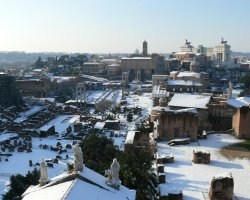 February Holiday, Rome, Italy, Europe, Tthe ruins under the snow