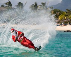 Five Dream Destinations, Mauritius, Africa, Santa on water ski