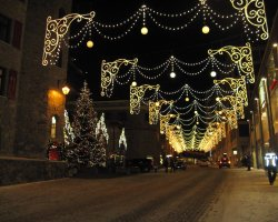 Five Dream Destinations, Saint Moritz, Switzerland, Street light near Christmas