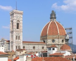 Florence, Italy, Il Duomo scaffolded overview