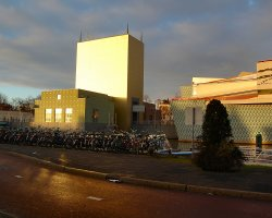 Groningen Museum, Netherlands, Museum with evening sun in winter