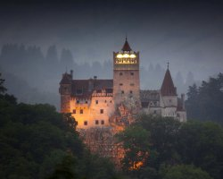 Halloween Holiday, Brasov, Romania, Bran Castle panorama