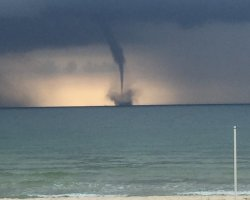 Hiking Summer Destination, Island Saint George, Florida, Waterspout forming