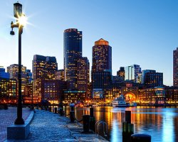 Holiday maze, Boston, USA, City skyline
