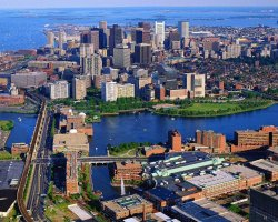 Holiday maze, Boston, USA, City aerial view