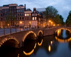 Holiday maze, Amsterdam, Netherland, Bridge street by night