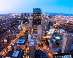 Holiday maze, Boston, USA, City by nightfall