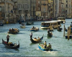 Holiday maze, Venice, Italy, Boats on the move