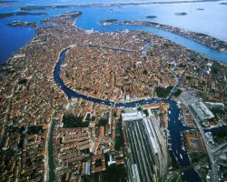 Holiday maze, Venice, Italy, Aerial city view