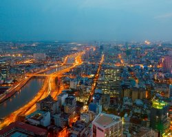 Holiday maze, Ho Chi Minh, Vietnam, City aerial view by night