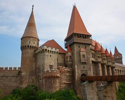 Hunyad Castle, Romania, Overlook with bridge