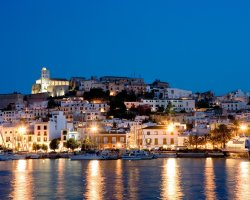 Ibiza, Spain, Hotels overview at night