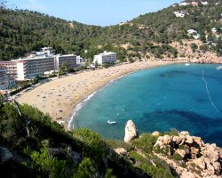 Ibiza, Spain, Beach panorama view