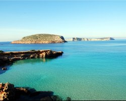 Ibiza, Spain, The rocky islands Illa des Bosc and Sa Conillera