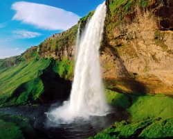 Iceland, Europe, Seljalandsfoss Waterfall