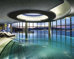 Impressive Swimming Pool, Taipa Island, China, Crown Tower Hotel interios view