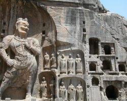 Incredible Stone Monuments, Longmen Caves, China, Entrance statue