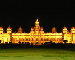 Palace of Mysore, India, Asia, Night view