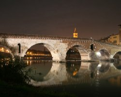 Italy Holiday, Verona, Italy, Bridge view by night